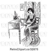 Vector Clip Art of Retro Lady Reading a Book at a Desk by Picsburg
