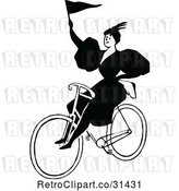 Vector Clip Art of Retro Lady Riding a Bicycle with a Flag by Prawny Vintage
