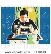 Vector Clip Art of Retro Lady Sewing with a Machine by a Window by Patrimonio