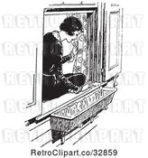 Vector Clip Art of Retro Lady Sitting in a Window Sill and Looking at Flowers by Picsburg