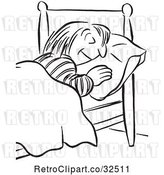 Vector Clip Art of Retro Lady Sleeping by Picsburg