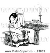 May 4th, 2018: Vector Clip Art of Retro Lady Sobbing at a Table by Prawny Vintage