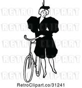 Vector Clip Art of Retro Lady Standing by a Bicycle by Prawny Vintage