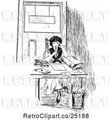 Vector Clip Art of Retro Lady Studying by Prawny Vintage