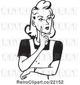 Vector Clip Art of Retro Lady Touching Her Cheek and Thinking by BestVector