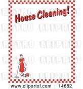 "Vector Clip Art of Retro Lady Vacuuming with a Canister Vacuum with Text Reading ""House Cleaning!"" Borderd by Red Checkers Clipart Illustration by Andy Nortnik"