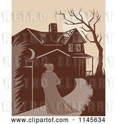 Vector Clip Art of Retro Lady Walking Towards a Dilapidated Mansion by Patrimonio