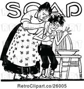 Vector Clip Art of Retro Lady Washing Her Son over Soap Text by Prawny Vintage