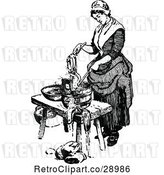 Vector Clip Art of Retro Lady Washing Laundry by Prawny Vintage