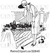 Vector Clip Art of Retro Lady Watering a Garden by Picsburg