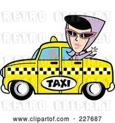 Vector Clip Art of Retro Lady Waving and Riding in a Taxi Cab by Andy Nortnik