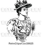 Vector Clip Art of Retro Lady Wearing a Hat by Prawny Vintage