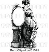Vector Clip Art of Retro Lady with a Caduceus and Sign by Prawny Vintage