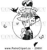Vector Clip Art of Retro Lady with a Hat Butterflies and a Bird by Prawny Vintage