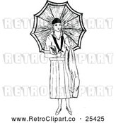 Vector Clip Art of Retro Lady with an Umbrella by Prawny Vintage