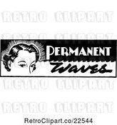 Vector Clip Art of Retro Lady with Permanent Waves Text by BestVector