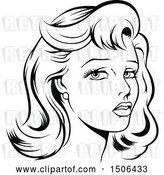 Vector Clip Art of Retro Lady with Styled Hair by Dero