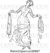 Vector Clip Art of Retro Lady with Wet Laundry by Prawny Vintage