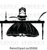 Vector Clip Art of Retro Lady Writing at a Desk by Prawny Vintage