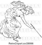 Vector Clip Art of Retro Lady Writing with a Stick by Prawny Vintage