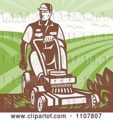 Vector Clip Art of Retro Landscaper Guy Pushing a Lawn Mower by Patrimonio