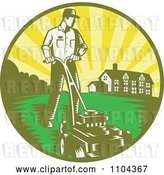 Vector Clip Art of Retro Landscaper Mowing a Lawn near a House by Patrimonio
