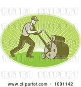 Vector Clip Art of Retro Landscaper Oval Using a Lawn Roller by Patrimonio