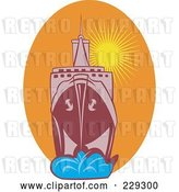 Vector Clip Art of Retro Large Battleship Against a Sunset by Patrimonio