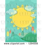 Vector Clip Art of Retro Large Sun with Clouds and Halftone over Hills with Colorful Autumn Trees by BNP Design Studio