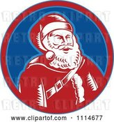 Vector Clip Art of Retro Laughing Santa in a Blue and Red Circle by Patrimonio