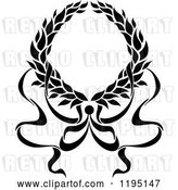 Vector Clip Art of Retro Laurel Wreath with a Bow and Ribbons 10 by Vector Tradition SM