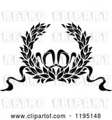 Vector Clip Art of Retro Laurel Wreath with a Bow and Ribbons 11 by Vector Tradition SM