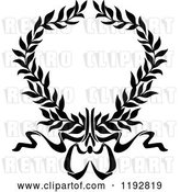 Vector Clip Art of Retro Laurel Wreath with a Bow and Ribbons 2 by Vector Tradition SM