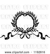 Vector Clip Art of Retro Laurel Wreath with a Bow and Ribbons 3 by Vector Tradition SM
