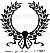 Vector Clip Art of Retro Laurel Wreath with a Bow and Ribbons 4 by Vector Tradition SM