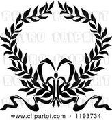 Vector Clip Art of Retro Laurel Wreath with a Bow and Ribbons 5 by Vector Tradition SM