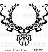 Vector Clip Art of Retro Laurel Wreath with a Bow and Ribbons 6 by Vector Tradition SM