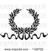 Vector Clip Art of Retro Laurel Wreath with a Bow and Ribbons 7 by Vector Tradition SM