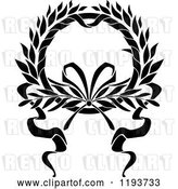 Vector Clip Art of Retro Laurel Wreath with a Bow and Ribbons 8 by Vector Tradition SM