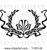 Vector Clip Art of Retro Laurel Wreath with a Bow and Ribbons 9 by Vector Tradition SM