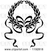 Vector Clip Art of Retro Laurel Wreath with a Bow and Ribbons by Vector Tradition SM