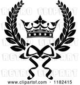 Vector Clip Art of Retro Laurel Wreath with a Crown by Vector Tradition SM