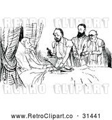 Vector Clip Art of Retro Lawyers and Man on His Death Bed by Prawny Vintage