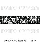 Vector Clip Art of Retro Leaf Border by Prawny Vintage