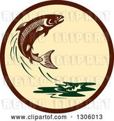 Vector Clip Art of Retro Leaping Atlantic Salmon Fish and Green Water Splash in a Brown and Tan Circle by Patrimonio