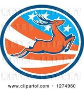 Vector Clip Art of Retro Leaping Deer in a Blue White and American Flag Oval by Patrimonio