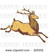 Vector Clip Art of Retro Leaping Deer Stag by Patrimonio