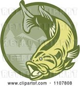 Vector Clip Art of Retro Leaping Largemouth Bass Fish over a Green Mountainous Circle by Patrimonio
