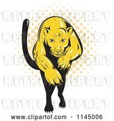 Vector Clip Art of Retro Leaping Puma over Halftone by Patrimonio