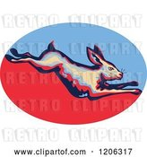 Vector Clip Art of Retro Leaping Rabbit over a Blue and Red Oval by Patrimonio